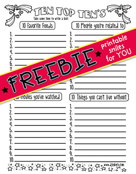 Top Ten Lists - Printable Brainstorming Freebie