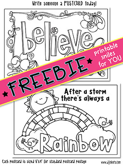 Printable Postcards - Coloring Activity Freebie