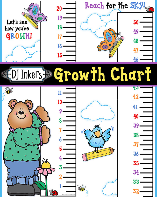 Cute printable growth chart for kids in black & white and color
