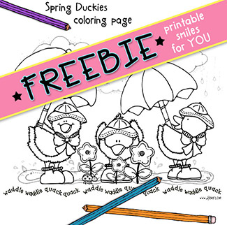 Spring Duckies Printable Coloring Page Freebie -NEW!
