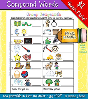 Crazy Compound Words Printable Download -NEW