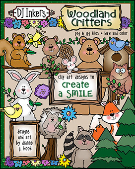 DJ Woodland Critters Clip Art Download -NEW!