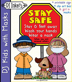 Stay Safe - Kids with Masks Clip Art Download -NEW!