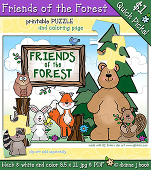 Friends of the Forest Printable Puzzle and Coloring Page