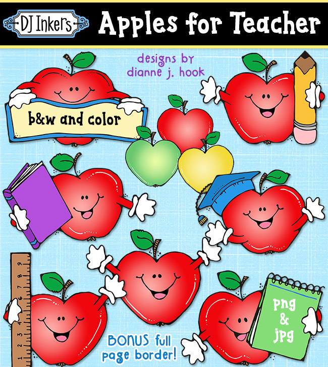Cute clip art apples for school and teacher smiles by DJ Inkers