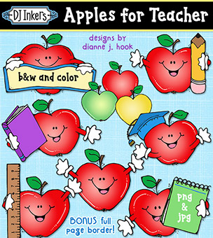Apples for Teacher Clip Art Download -NEW!