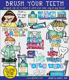 Brush Your Teeth Clip Art Download -NEW!