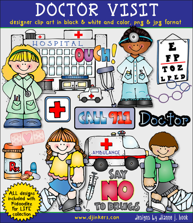 Kids clip art for a doctor visit full of smiles by DJ Inkers