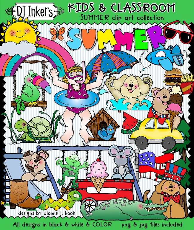 Warm summer clip art for kids and classrooms by DJ Inkers