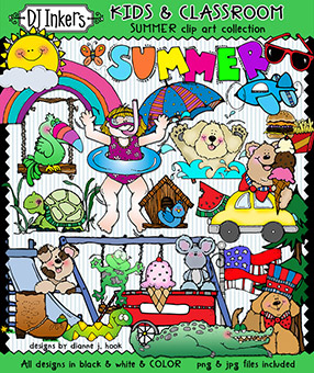 Summer Clip Art - Kids and Classroom Download -NEW!