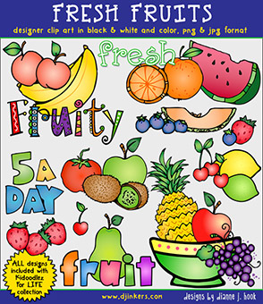 Fresh Fruit Clip Art Download -NEW!