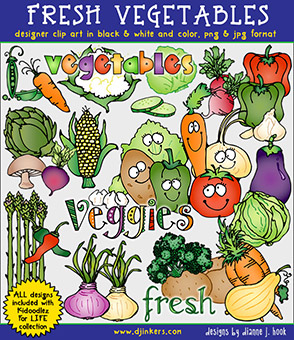 Fresh Vegetables Clip Art Download -NEW!