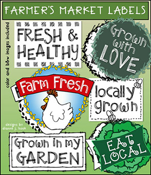 Farmers Market Printable Labels - License Free