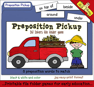 Preposition Pickup File Folder Game Download