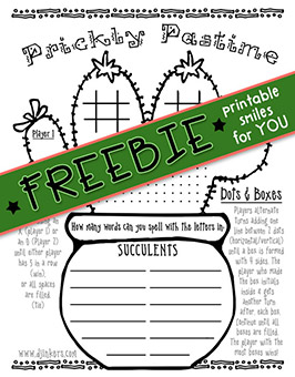 Prickly Pastime - 2 Player Printable Fun Freebie