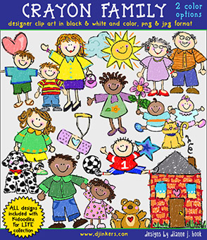Crayon Family Clip Art Download -NEW!