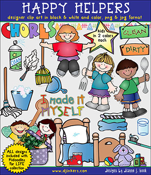 Happy Helpers - Clean-Up Clip Art Download -NEW!