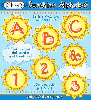 Sunshine Clip Art Alphabet Download -NEW!