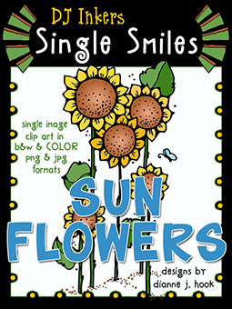 Sunflowers - Single Smiles Clip Art Image -NEW!