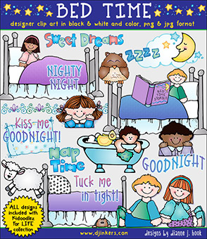 Bed Time Clip Art Download -NEW!