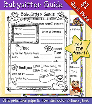 Babysitter Guide Printable Download