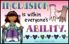 Inclusion is within everyone's ability. Disability awareness quote with DJ Inkers clip art