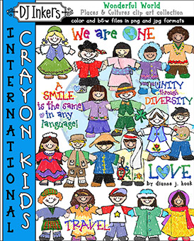 International Crayon Kids Clip Art Download -NEW!