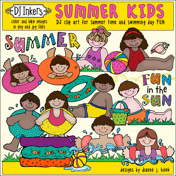 Make a splash on your creations with our playful Summer Kids Clip Art