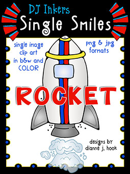 Rocket - Single Smiles Clip Art Image
