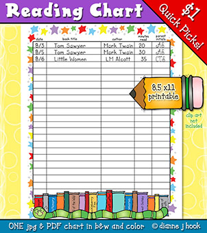 Reading Chart Printable Download -NEW!