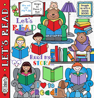 Let's Read Clip Art Download -NEW!
