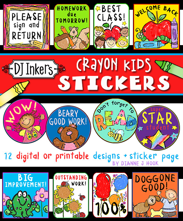 Cute digital stickers for teachers and students made with DJ Inkers Crayon Kids clip art