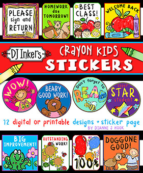 Crayon Kids Digital Reward Stickers Download