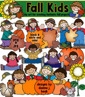 Fall Kids Clip Art Download -NEW!