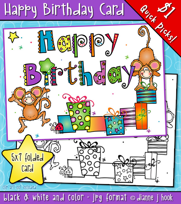 A cute printable birthday card for kids, friends and parties by DJ Inkers