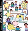 Clip art boys and girls holding all sorts of signs for text, labels and more -DJ Inkers