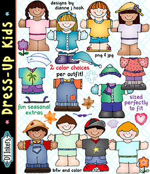 Dress-Up Kids Clip Art & Printables Download -NEW!
