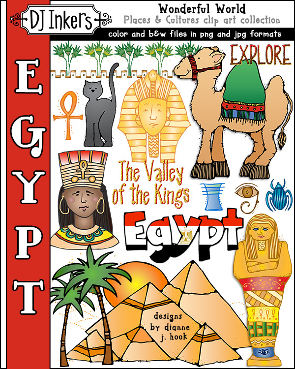 Fun clip art for ancient Egypt and world travels by DJ Inkers
