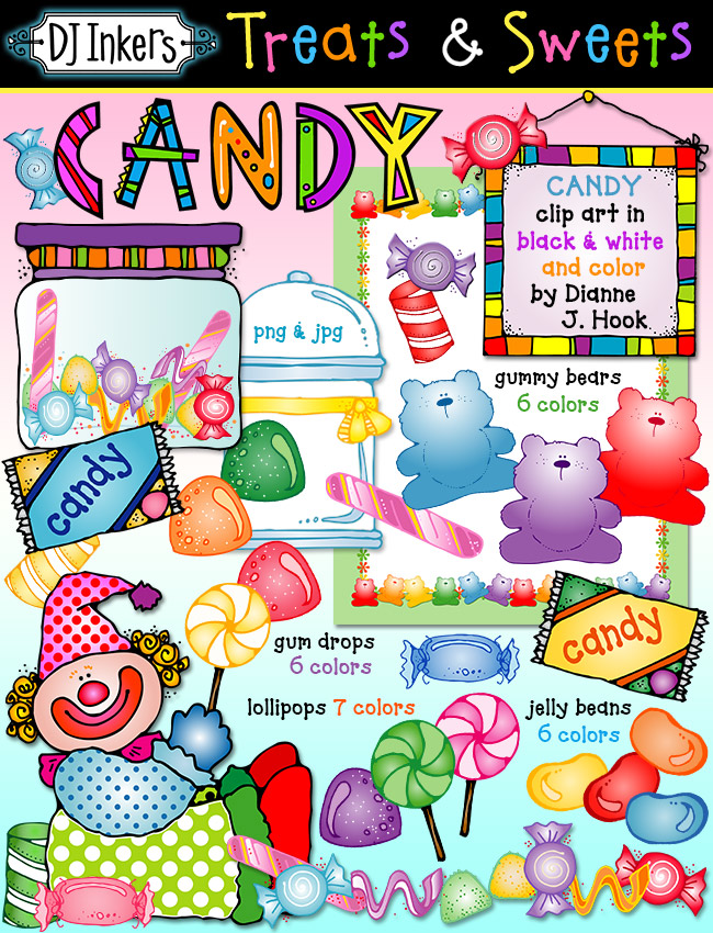 Create something sweet with DJ Inker's cute candy clip art. Perfect for learning colors or counting!