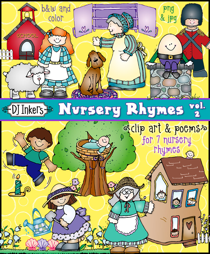 Cute Nursery Rhyme clip art for 7 different poems by DJ Inkers
