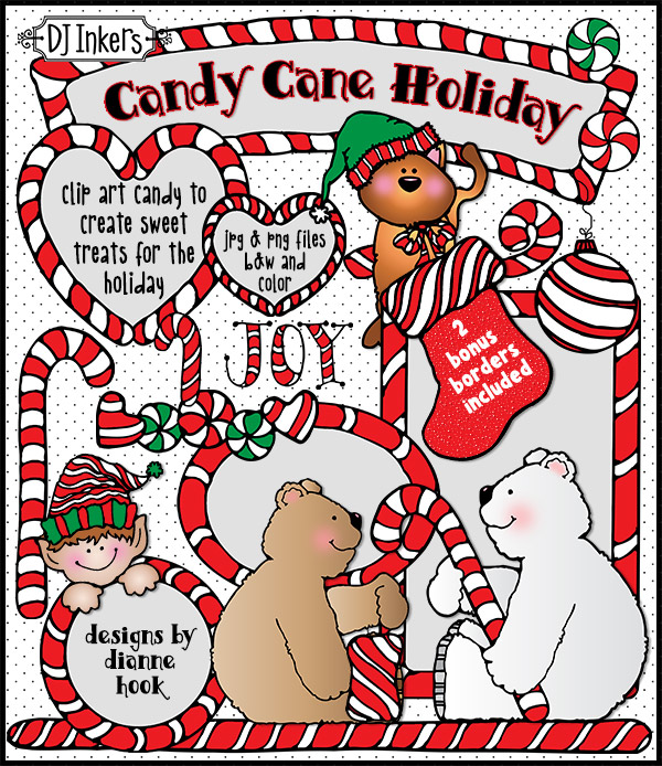 Cute Candy Cane Clip Art and Holiday Borders by DJ Inkers