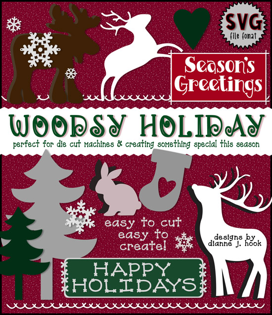 Woodsy Holiday SVG cut-out files for die-cut machines, Christmas and winter crafting -DJ Inkers