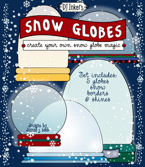 Create a little holiday magic inside your own clip art snow globe by DJ Inkers
