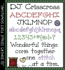 DJ Crisscross is a fun cross stitch style font for sewing, quilting and crafting by DJ Inkers