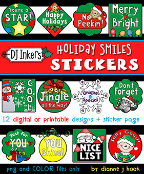 Holiday Smiles Digital Reward Stickers Download