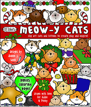 Meowy Christmas Cats Clip Art Download