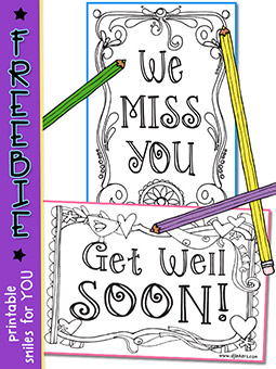 Printable Postcards 2: Miss You - Get Well - Coloring Freebie