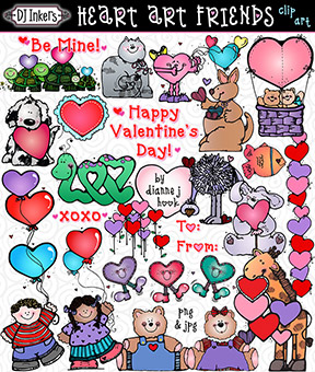 Heart Art Friends - Valentine Clip Art Download