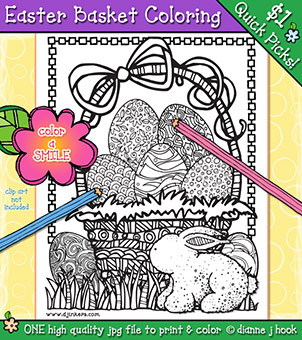 Easter Basket Coloring Page Download